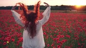 redhead : Red-haired woman throws her hair up standing in field of poppies in rays of setting sun, rear view