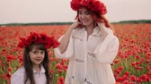 медленно : Young mother and little daughter stand in blooming field in wreaths of wild poppy flowers Стоковые видеозаписи