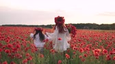 bieg : Happy mom and daughter are running through blooming poppy field at sunset, rear view, slow motion