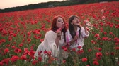 snadnost : Happy little girl and her mom inflate soap bubbles in blooming field of red poppies, slow motion