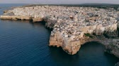 кобыла : Aerial View panorama of town Polignano a Mare, drone shot