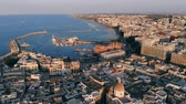 sailboat : Aerial view of seaside city of Bari, Italy Stock Footage