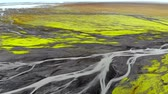Aerial view of glacier river delta in Iceland Stock Footage