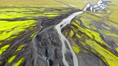 Aerial view of glacial river spilled on ground, Iceland