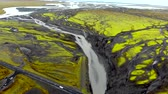 静脈 : Aerial view of glacier river delta in Iceland 動画素材
