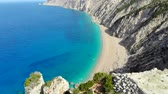 Aerial view of beautiful deserted beach on Greek island of Kefalonia Stock Footage