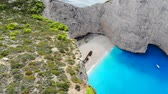 Aerial view of Navagio Shipwreck Beach in Zakynthos Greece Stock Footage