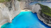 Top down aerial view of a beautiful Navagio beach in the Ionian Sea on the shore of Zakynthos island, Greece Stock Footage