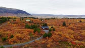 сентябрь : Aerial view of colorful autumn landscape in national park Thingvellir, Iceland, drone shot Стоковые видеозаписи