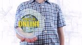 sunucu : Young man shows a hologram of the planet Earth and text Ready to online. Boy with future technology 3d projection on a modern white digital background