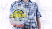 farmakologie : Young man shows a hologram of the planet Earth and text Online science. Boy with future technology 3d projection on a modern white digital background