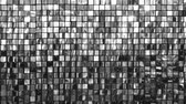 metálico : Many shiny black white squares. Bright background Stock Footage