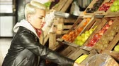 small : Customer choosing the fruit Stock Footage