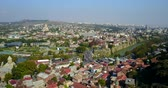 Beautiful Aerial View Of Center Of Tbilisi. Kura River. Drone flight