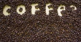 Coffee Break text concept. Coffee Beans background Wideo