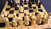 bishop : Chess Pieces on Board Stock Footage