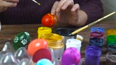 bowl : Coloring Easter eggs. Colorful Easter Eggs Handmade. Stock Footage