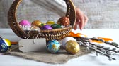 bıldırcın : Easter decoration. Woman in a basket. traditional easter decoration
