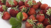 framboesa : Group of fresh strawberries on white background. Dolly shot.