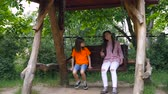 abduction : Happy two children ride on a swing at the summer park. Cute teen girl swings at playground outdoors. Stock Footage