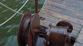 sprocket : Close up Large gray Metal Gear chain for anchor used in the shipping industry.