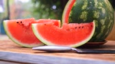 Beautiful delicious red, green juicy sliced watermelon