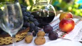 grape : Still life with basket Autumn fruits, Steadicam shot. Stock Footage