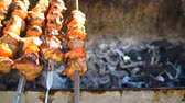 выпивка : Barbecue With Delicious Grilled Meat On Grill. Barbecue Party. Chicken meat pieces being fried on a charcoal grill.