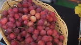 vino tinto : Grapes of black, yellow, red grapes in the basket.