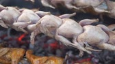 codorna : close up cooking barbecue quail bird with spinner on hot coal Stock Footage