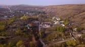 living environment : Camera flight over small village. Autumn landscape. Moldavian republic. Europe. Stock Footage