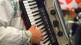 accordionist : An adult man plays an accordion in a national costume. Musical quartet playing. Musicians perform at the concert.