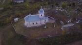 classicism : Flight over the church in Moldova Republic. Stock Footage