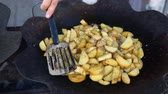 potato dishes : macro homemade fried potato in metal tray Stock Footage