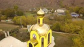 cristandade : Aerial drone in a rural village of Moldova. Europe. Stock Footage