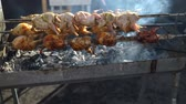 codorna : close up cooking barbecue quail bird with spinner on hot coal Vídeos