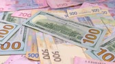 hryvnia : Slider money on the table. Denominations. Dollar and hryvnia Stock Footage