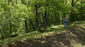 Woman with backpack walking on forest edge enjoying the shade in the sunny spring nature Wideo