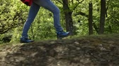 Woman hiker walking on forest edge with a backpack in sunny spring - closeup on legs, camera follows boots Wideo