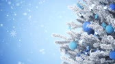 season : New Year tree with falling snowflakes Stock Footage