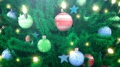 falling stars : Decorated Christmas tree and falling snow