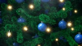 ocak : New Year tree with falling snowflakes Stok Video