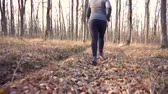 motivováni : Motivated fat girl runs through forest to fight overweight.Slow motion.