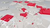 vykružovačka : Falling rotating abstract puzzle pieces in white and red Dostupné videozáznamy