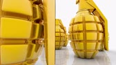 granada : Abstract Hand grenades in gold color