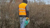 cut off : Landscape worker with bush cutter near bush in spring Stock Footage