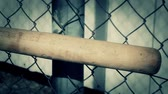 beisebol : Baseball bat with focus on wire fence
