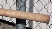 beisebol : Baseball bat on wire fence Stock Footage