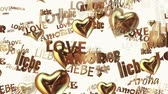amor : Inscriptions Love in various languages with hearts in golden color on white