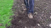 spades : Man digging with spade soil.Farming and gardening concept